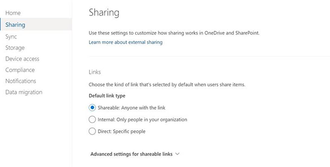 Sharing options on OneDrive